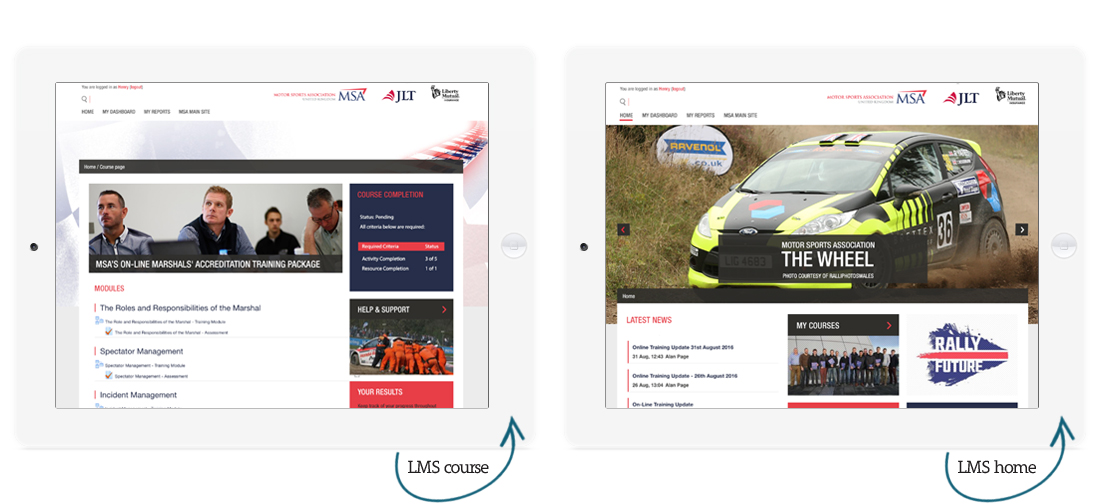 MSA-lms course page and homepage Totara Learn