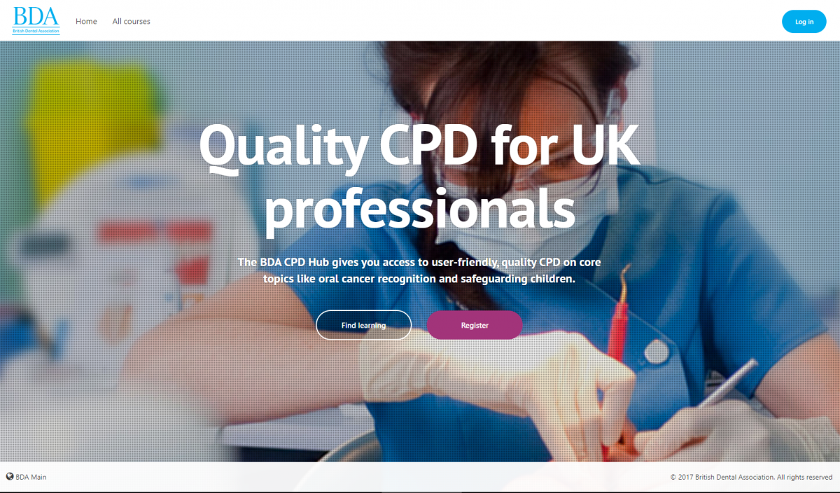 BDA CPD lms frontpage