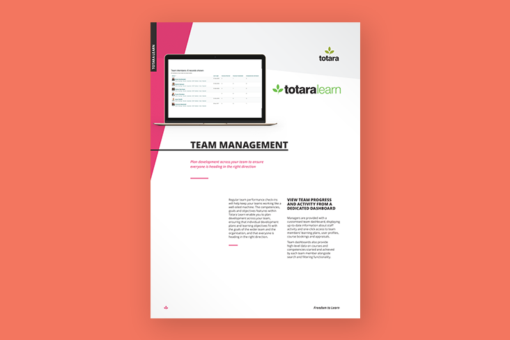 Team Management Feature Sheet Totara Learn