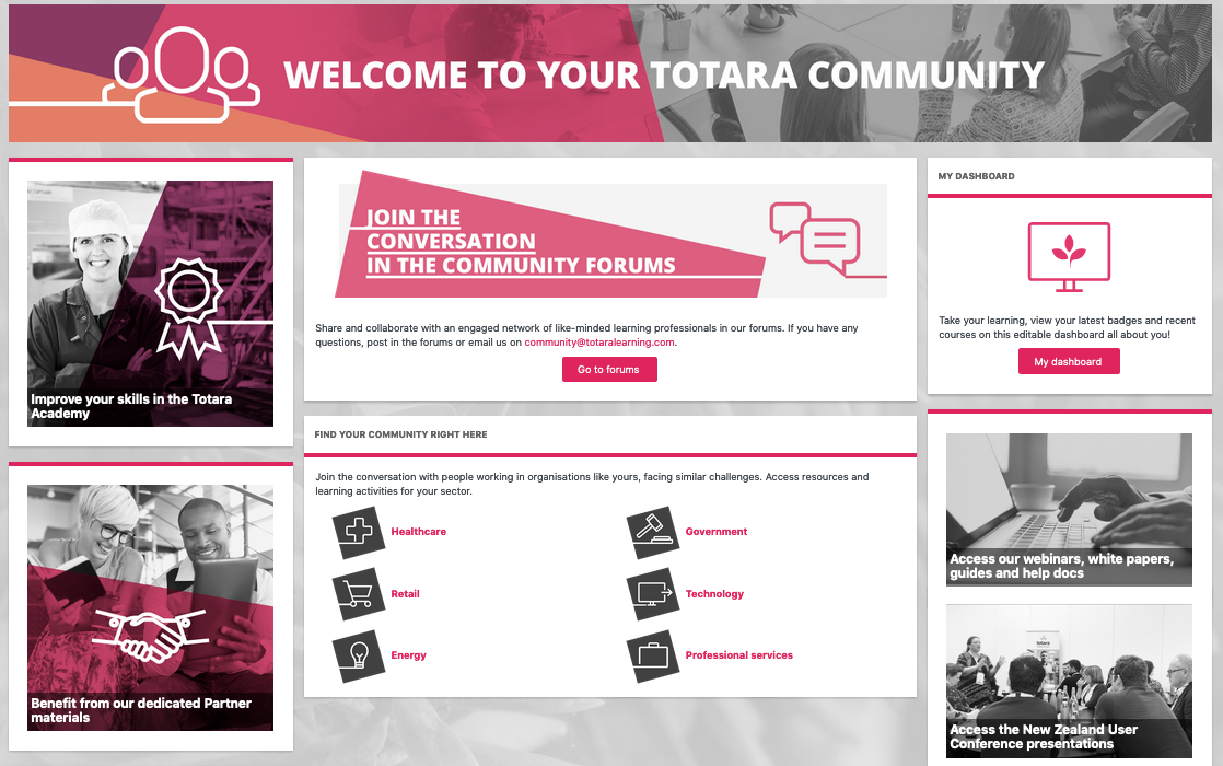 Featured Links block in Totara Learn