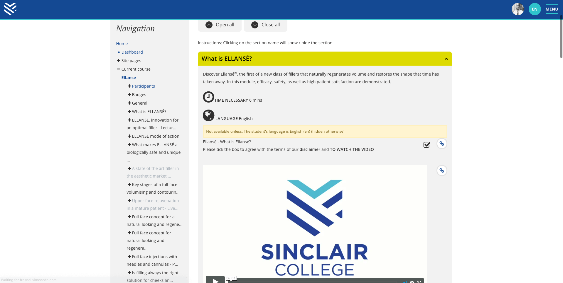 sinclair lms course