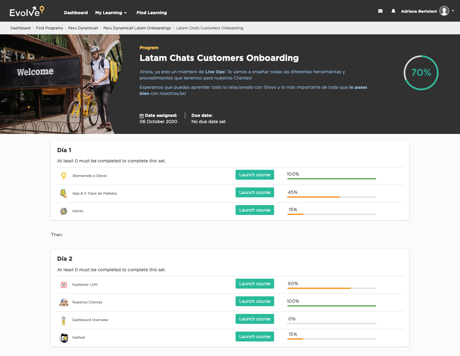 Onboarding Glovo LMS