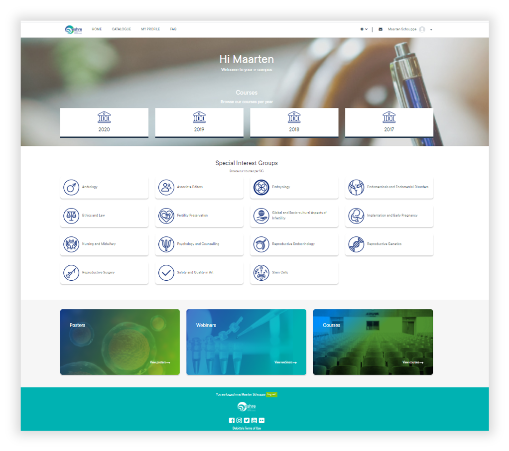 ESHRE Totara LMS Homepage