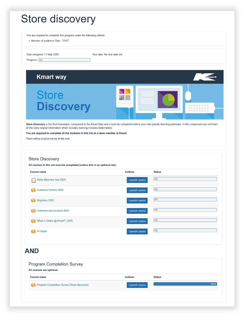 screenshot of Kmart lms store discovery