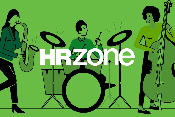 HRZone logo on an illustrated background of a three-piece jazz band