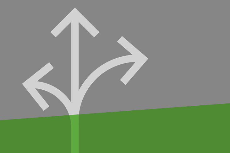 Vector images showing arrows pointing in three directions