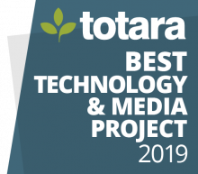 Totara Best Technology & Media Project 2019 badge