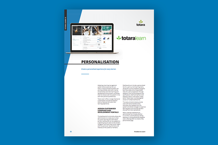 Personalisation Totara Learn