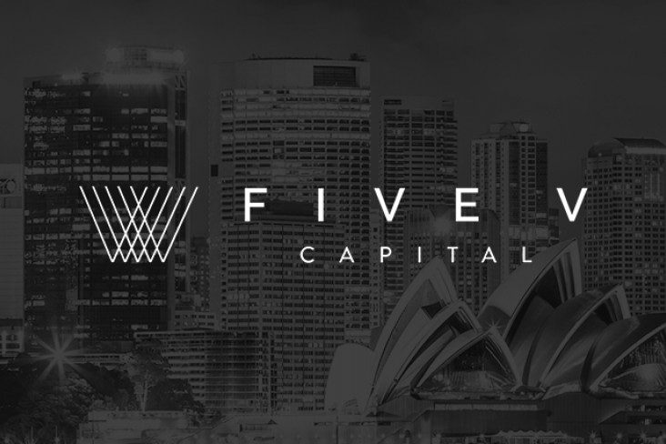 Five V logo on a black and white background of Sydney