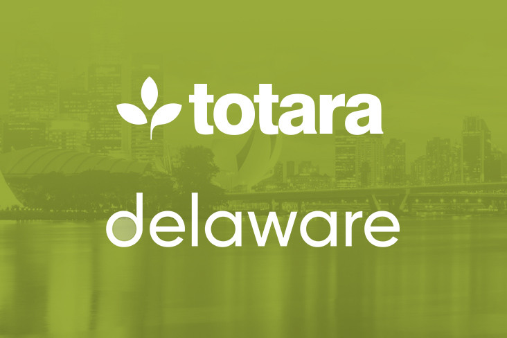 Totara and delaware logos on a green-tinted background image of Singapore