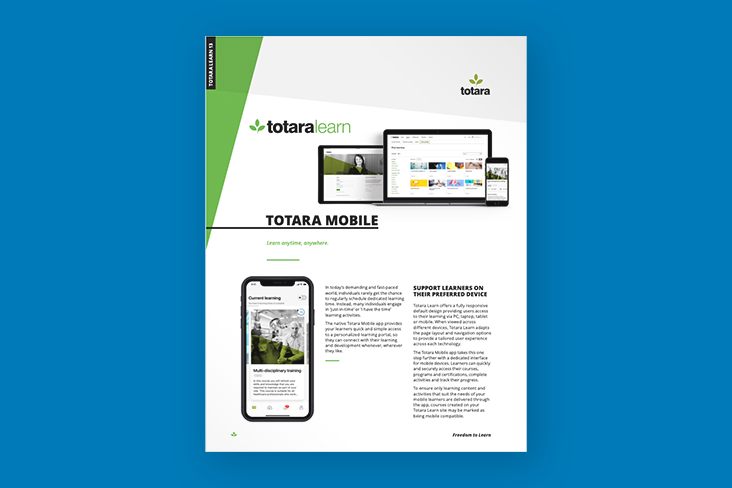 Totara Mobile App brochure
