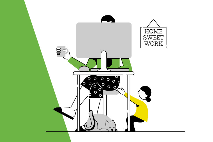 An illustration of a woman working from home with a child trying to get her attention