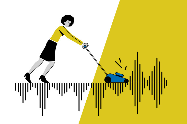 An illustration of a woman using a lawnmower to cut through a noisy waveform