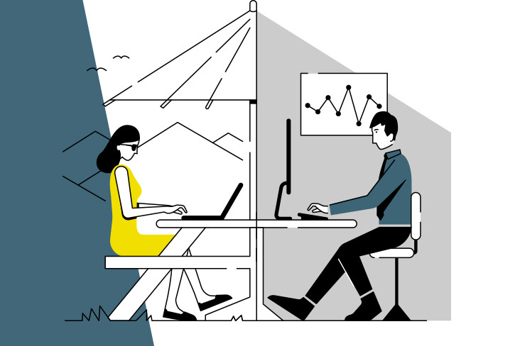 An illustration of a woman working remotely and a man working in a traditional office