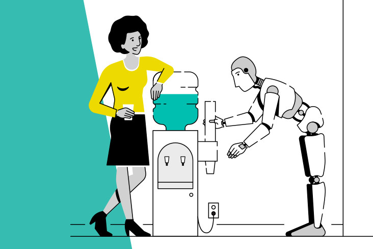 Illustration showing a woman and a robot talking at the water cooler