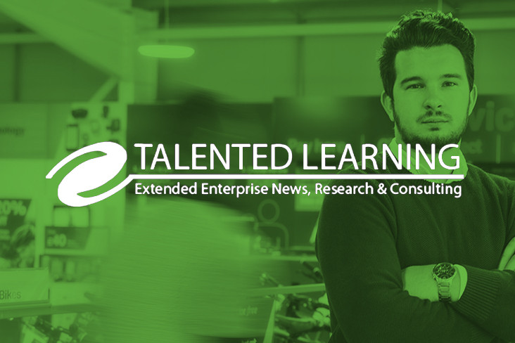Talented Learning logo over a background of a Totara customer