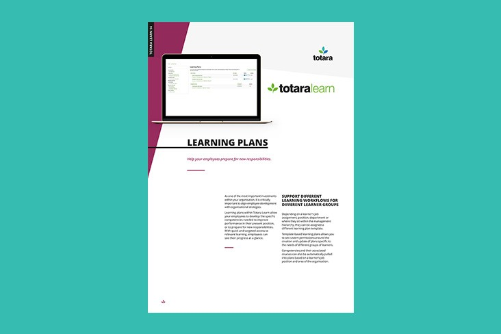 Learning Plans Totara Learn Feature Sheet