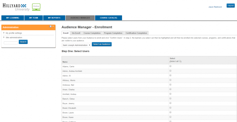 Hillyard LMS Audience Management