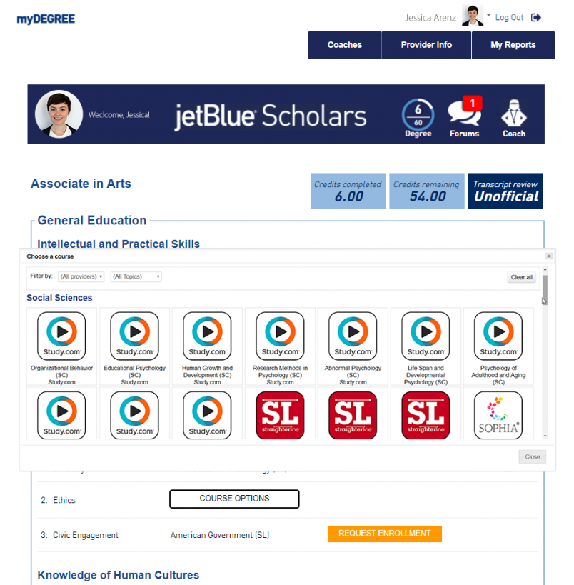 course requirements jetblue