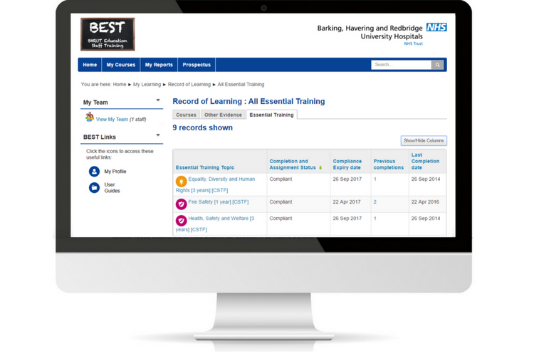 BHR University Hospital Trust NHS learn LMS