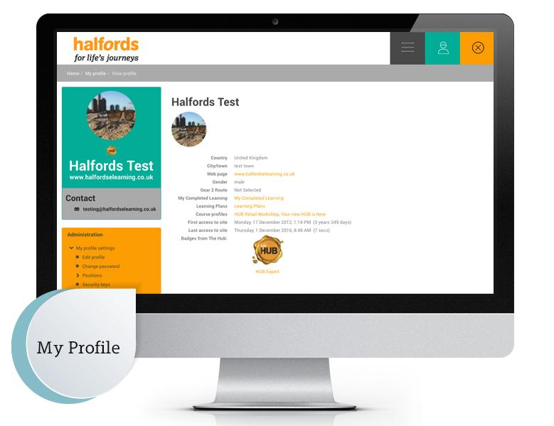 Halfords Totara LMS profile