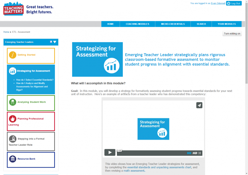 Teaching Matters LMS homepage