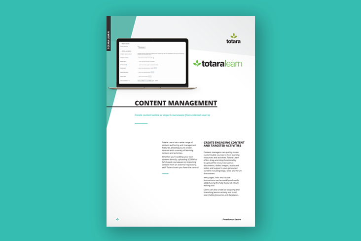 Content Management Product Feature Sheet Totara
