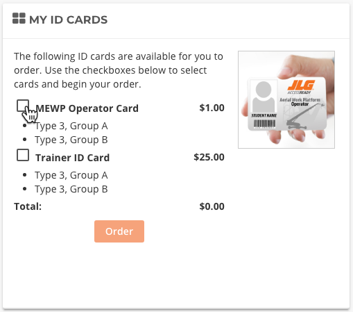 ID cards Totara LMS JLG